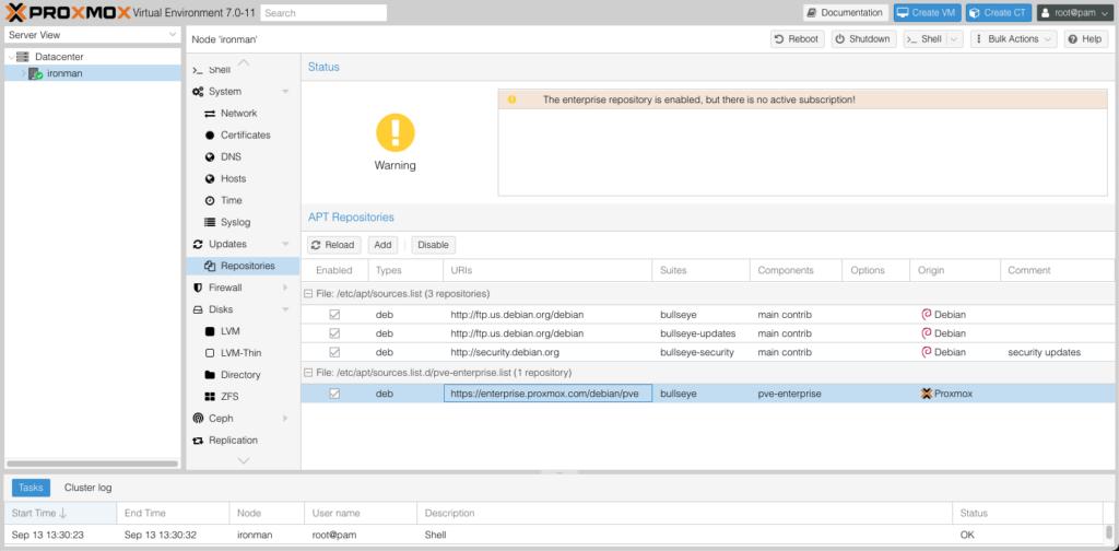 Proxmox 7.x Repository Screen